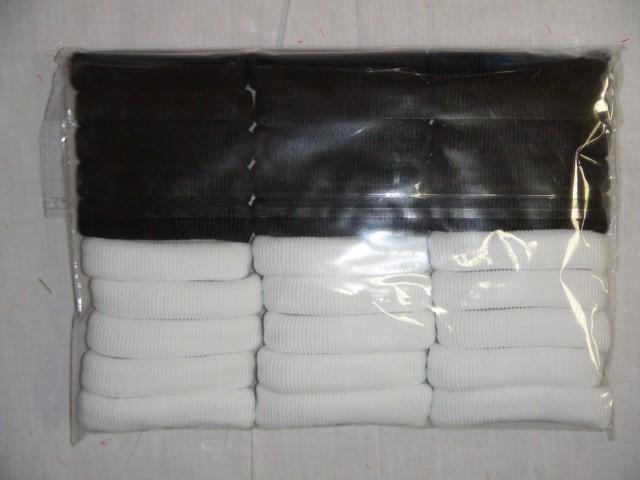 Резинка д/волос шелк, черно-белая, 8*1,5 см.,  (цена за 30 штук)