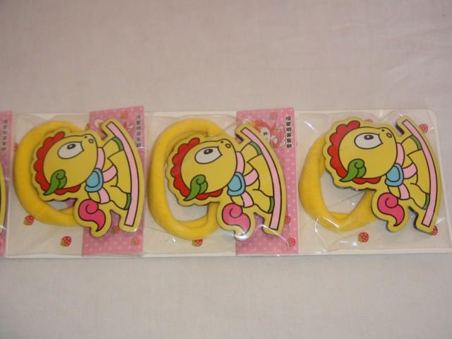 """Набор резинок для волос """"Лошадка"""", 5*4 см., пластик, ткань (цена за 6 штук)"""