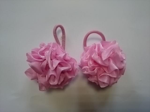 Резинка-шарик для волос, d 5 см, цена за пару, цвет - розовый.