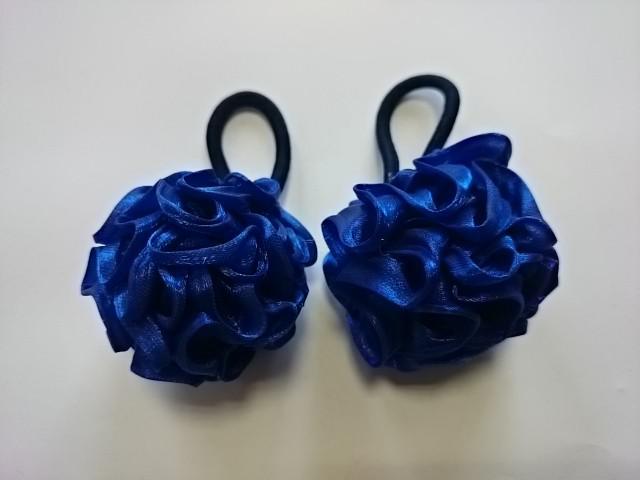 Резинка-шарик для волос, d 5 см, цена за пару, цвет - синий.