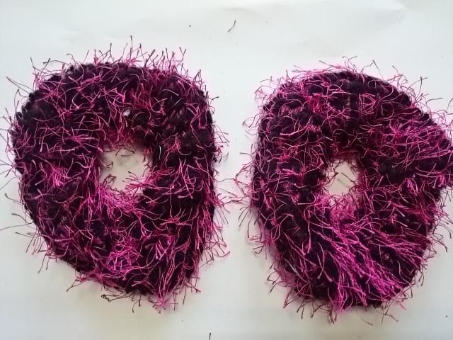 Резинка для волос махровая, d 10 см, цена за пару, цвет - розовые.