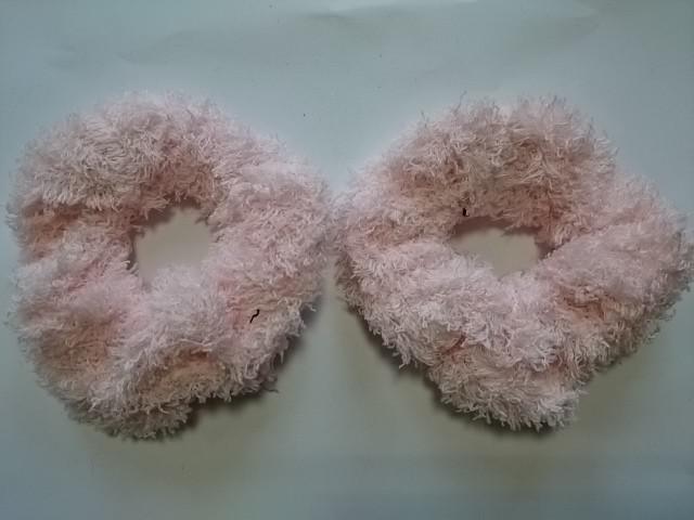 Резинка для волос махровая, d 10 см, цена за пару, цвет - розовый.