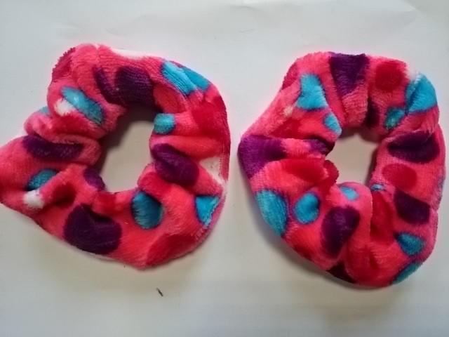 Резинка для волос велюровая, d 12 см, цена за пару, цвет - красный.