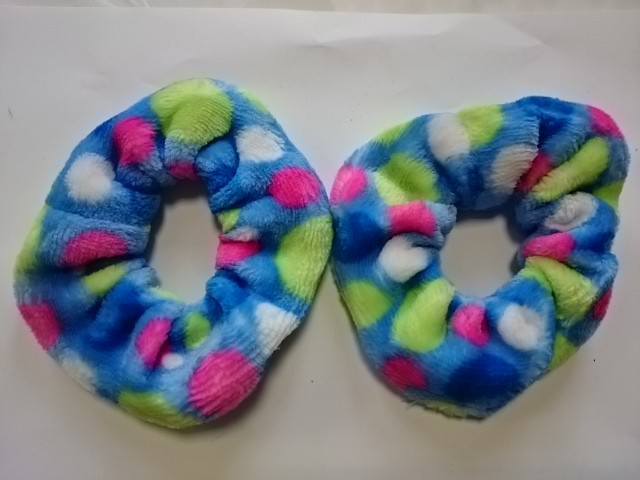 Резинка для волос велюровая, d 12 см, цена за пару, цвет - голубой.