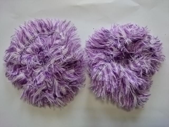 Резинка для волос меховая, d 12 см, цена за пару, цвет - фиолетовый.