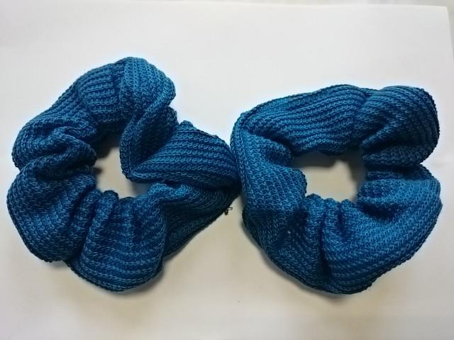 Резинка для волос цветная, d 12 см, цена за пару, цвет - синий.