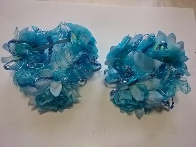 Резинка для волос цветная, d 12 см, цена за пару, цвет - голубой.