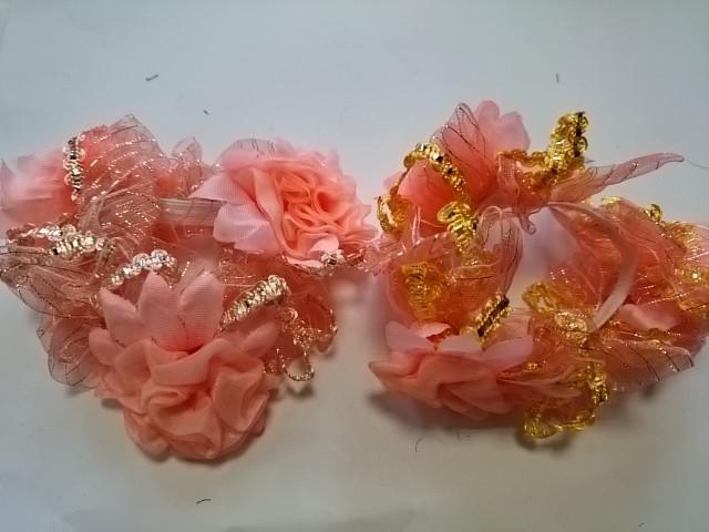 Резинка для волос цветная, d 12 см, цена за пару, цвет - персиковый.
