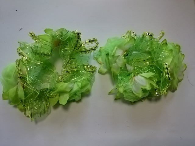 Резинка для волос цветная, d 12 см, цена за пару, цвет - зелёный.