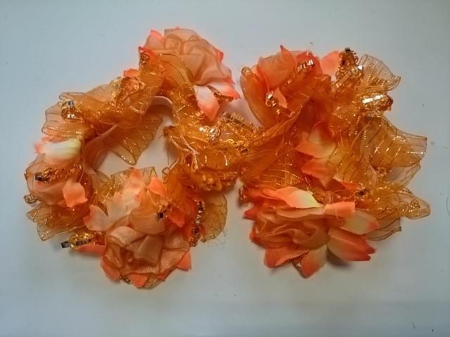 Резинка для волос цветная, d 12 см, цена за пару, цвет - оранжевый.