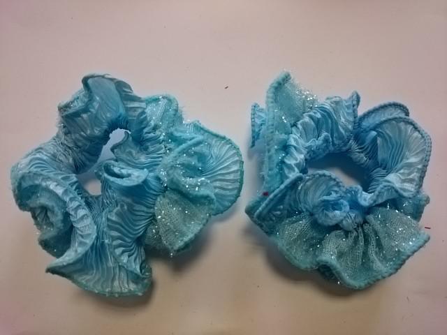 Резинка для волос цветная с блёстками, d 10 см, цена за пару, цвет - голубой.