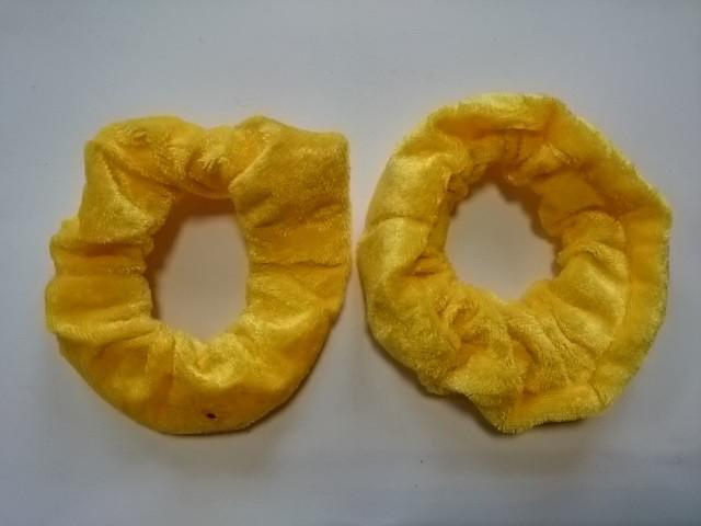 Резинка для волос велюровая, D=9 см, цена за пару, цвет - жёлтый.