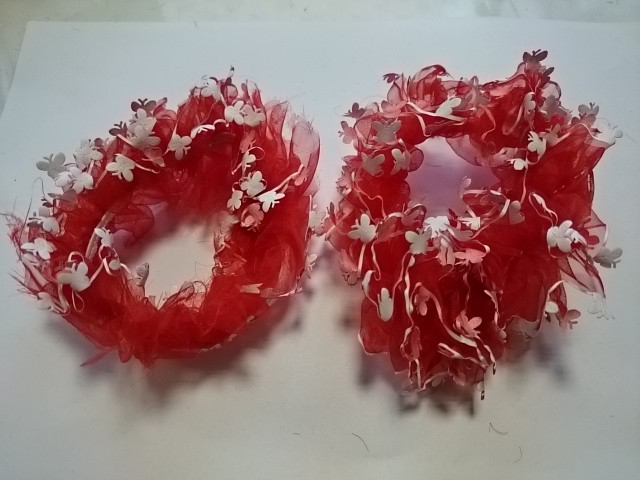 Резинка для волос капроновая, d 10 см, цена за пару, цвет - красный.
