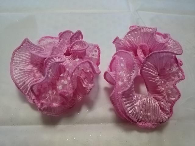 Резинка для волос гофрированная, d 10 см, цена за пару, цвет - розовый.