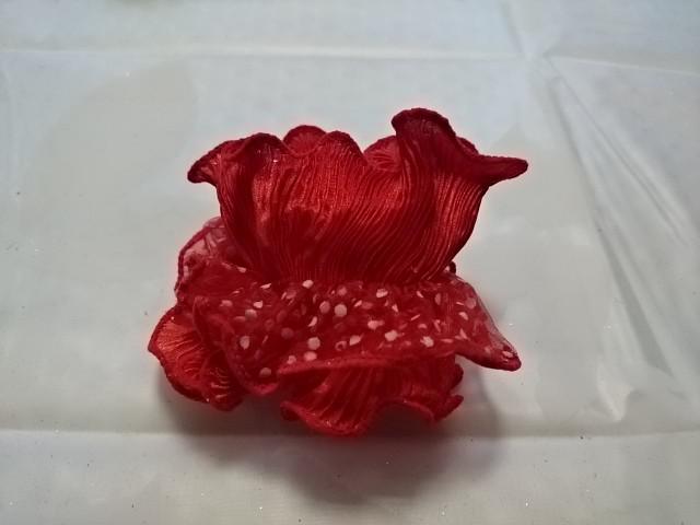 Резинка для волос гофрированная, d 10 см, цена за пару, цвет - красный.