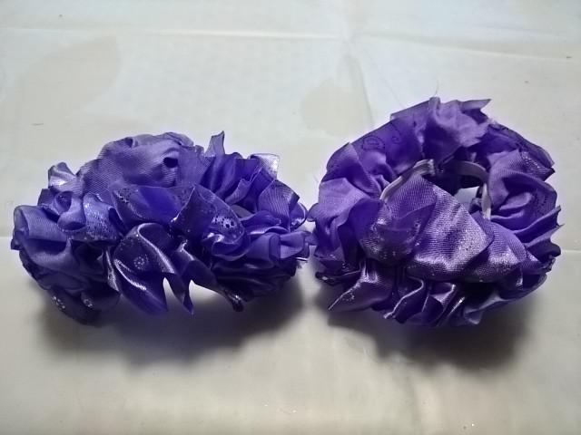 """Резинка для волос """"розочки"""", d 10 см, цена за пару, цвет - фиолетовый."""