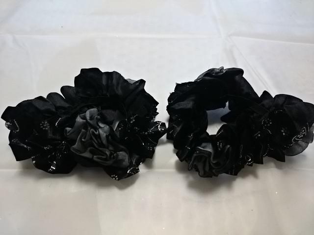 """Резинка для волос """"розочки"""", d 10 см, цена за пару, цвет - чёрный."""