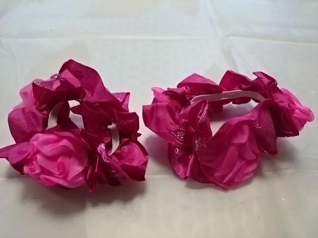 """Резинка для волос """"розочки"""", d 10 см, цена за пару, цвет - малиновый."""