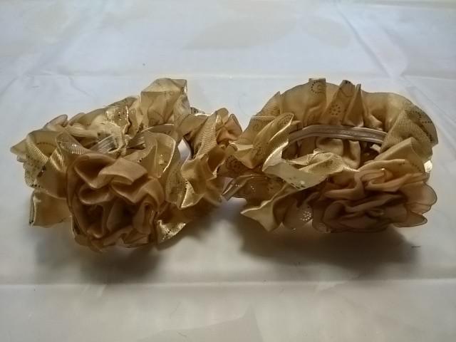 """Резинка для волос """"розочки"""", d 10 см, цена за пару, цвет - бежевый."""