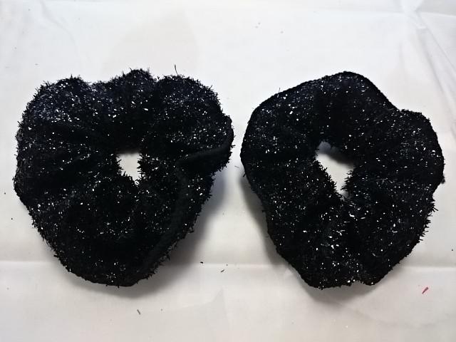 """Резинка для волос """"блёстки"""", d 10 см, цена за пару, цвет - чёрный."""