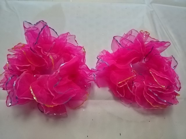 Резинка для волос капроновая, d 10 см, цена за пару, цвет - розовый.