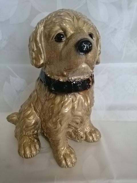 Копилка Собака с ошейником, 30 см, гипс, золото.