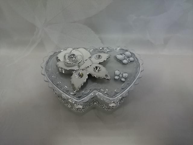 "Шкатулка серебро ""Сердце двойное"" с зеркалом, 9*12*4,5 см, пластик."