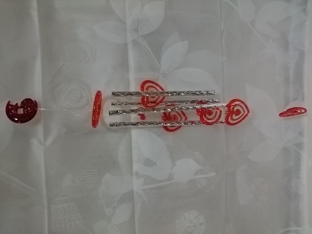"""Музыка ветра """"Сердечки красные"""", 60 см, металл, пластик."""