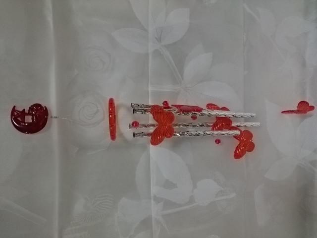 """Музыка ветра """"Бабочки красные"""", 60 см, металл, пластик."""