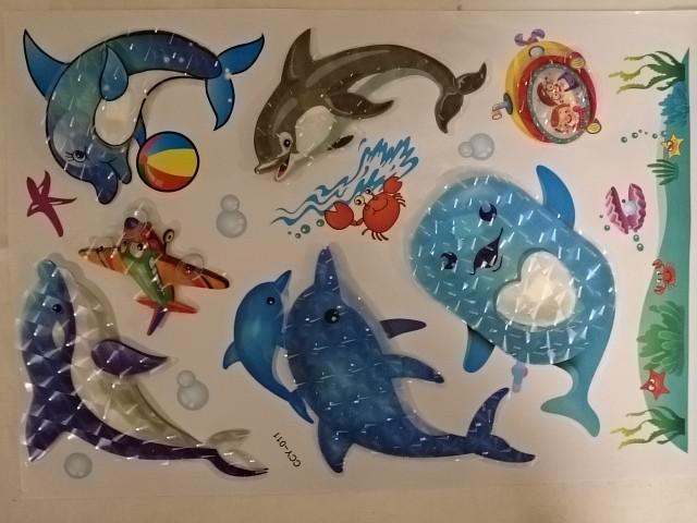 """Наклейки объёмные 5D """"Дельфины"""", 35 х 65 см."""
