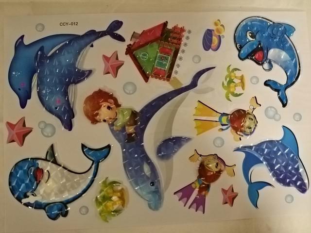 """Объемные наклейки 5D """"Дельфины"""", 35 х 65 см."""