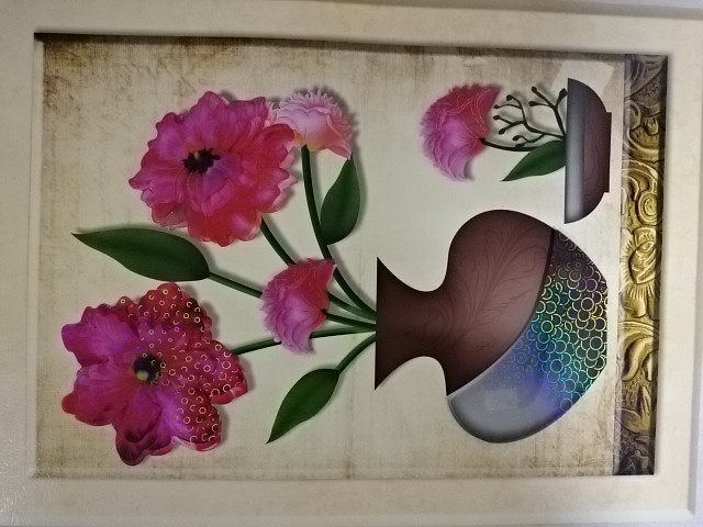 """Картинка объёмная 6D """"Цветы"""", 39 х 63 см."""