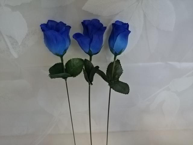 Роза-бутон синяя, l=25 см, бутон 5 х 3 см, пластик, ткань.