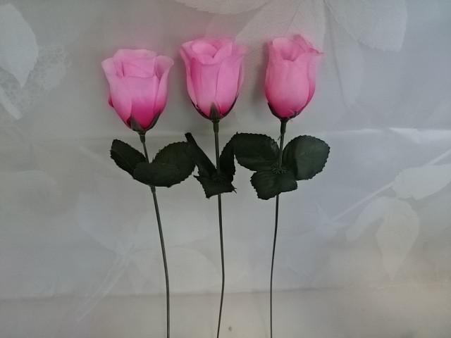 Роза-бутон розовая, l=25 см, бутон 5 х 3 см, пластик, ткань.