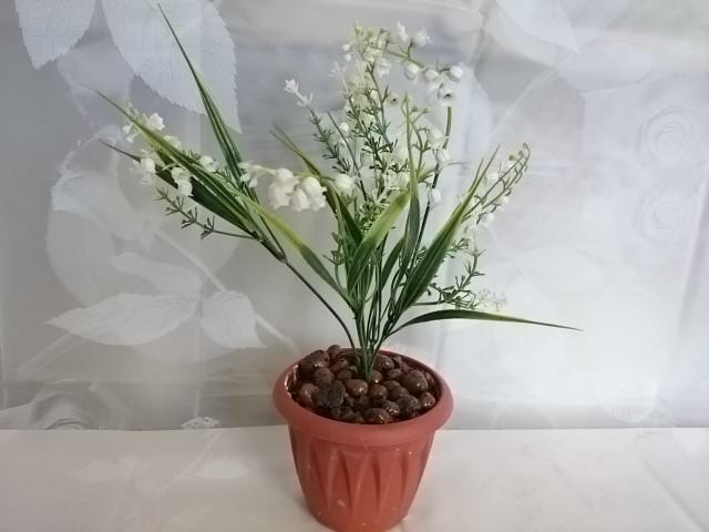 """Искусственный цветок в горшке """"Ландыш"""" 30 см, белый."""