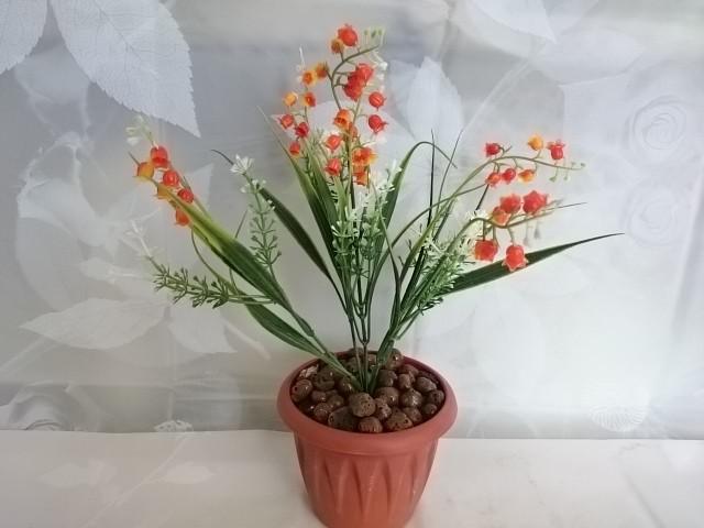 """Искусственный цветок в горшке """"Ландыш"""" 30 см, оранжевый."""