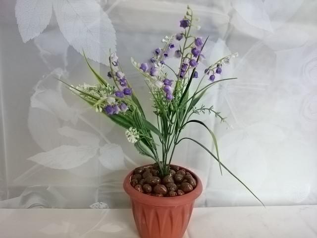 """Искусственный цветок в горшке """"Ландыш"""" 30 см, фиолетовый."""