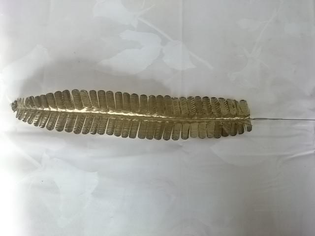 Лист папоротника узкого из парчи, 43 см, 1 штука, пластик, металл.
