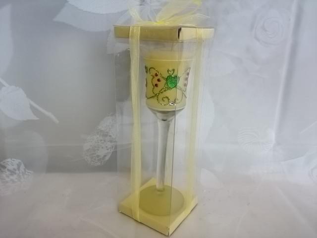 Свеча гелевая, 20 см, жёлтая, стекло, парафин.
