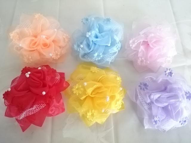 Банты для волос цветные, D= 15 см, 1 штука.