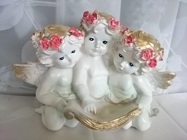 """Сувенир """"Ангел тройной"""", 30*22 см, гипс."""