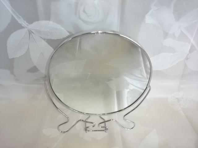 Зеркало круглое D 17 см, двухстороннее с увеличивающим зеркалом, в металлической оправе, ЦЕНА ДЕЙСТВИТЕЛЬНА ПРИ ПОКУПКЕ ОТ 12 ШТУК.