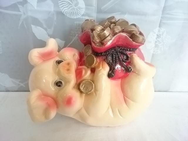 Копилка Свинья с деньгами, 25 х 21 см, гипс.