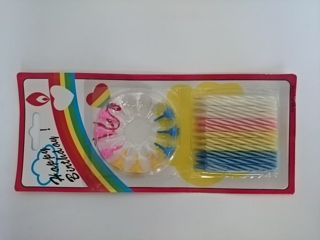 Набор свечей из 24 штук h 5,5 см + 12 штук подставок на блистере, парафин, пластмасса.
