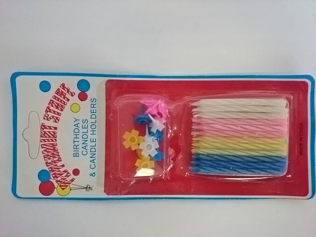 Набор свечей из 24 штук h 5 см + 12 штук подставок на блистере, парафин, пластмасса. ЦЕНА ЗА 24 НАБОРА!!!!!