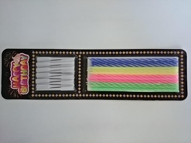 Набор свечей из 12 штук h 11 см + 12 штук подставок на блистере, парафин, пластмасса.