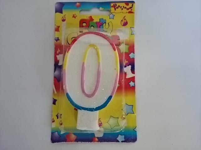 """Свеча в торт """"ЦИФРА 0"""" - 10*5,5*1,5 см 1 штука."""