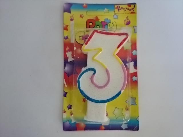 """Свеча для торта """"ЦИФРА 3"""" - 10*5,5*1,5 см 1 ШТУКА."""
