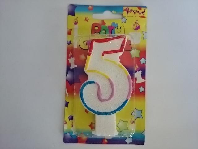 """Свеча для торта """"ЦИФРА 5"""" - 10*5,5*1,5 см 1 ШТУКА."""