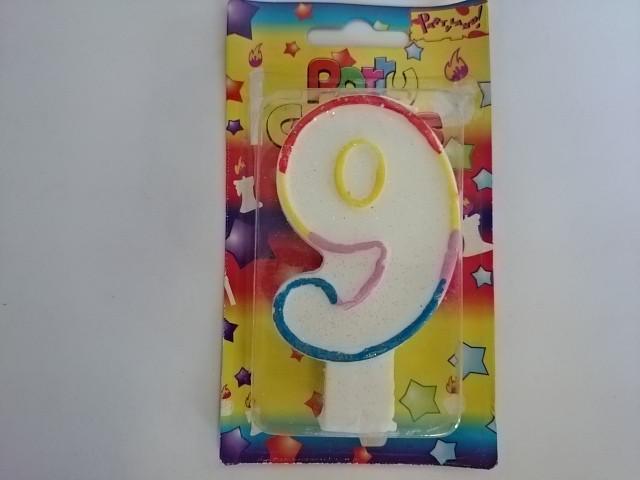 """Свеча для торта """"ЦИФРА 9"""" - 10*5,5*1,5 см 1 ШТУКА."""